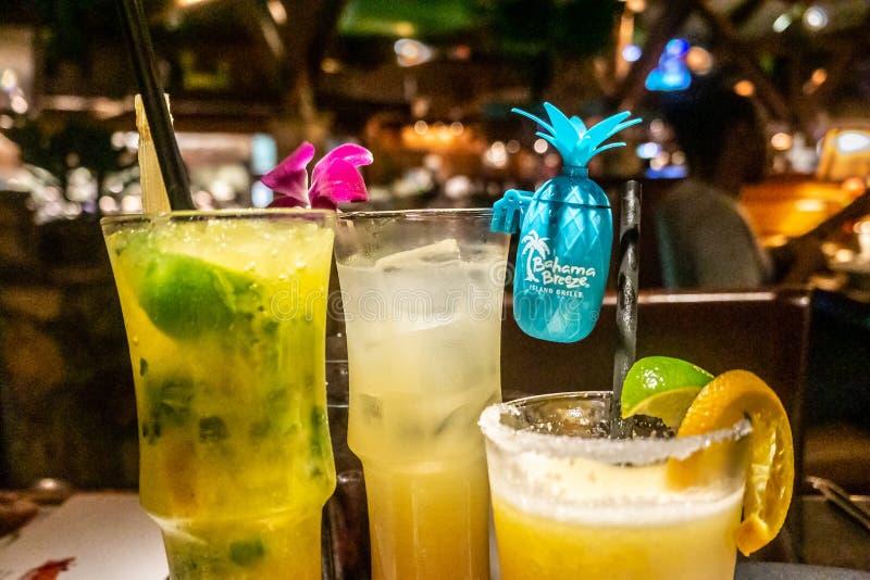 Напитки тропического пляжа острова тематические на ветерке Bahama со съемкой рома или текила стоковое фото
