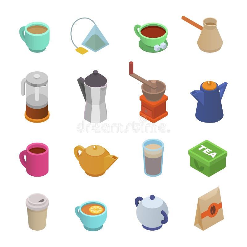 Напитки эспрессо coffeecup и кружки значка чашка вектора кофейной чашки равновеликие в наборе иллюстрации coffeeshop кофе иллюстрация штока