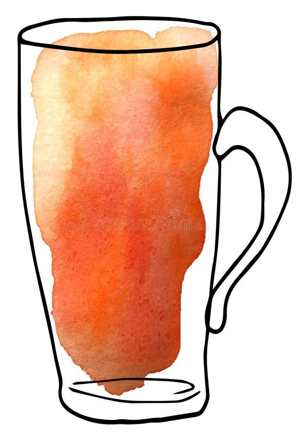 Напиток в стеклянной чашке - стиль эскиза и искусства иллюстрация для дизайна меню, журналы растра иллюстрация штока