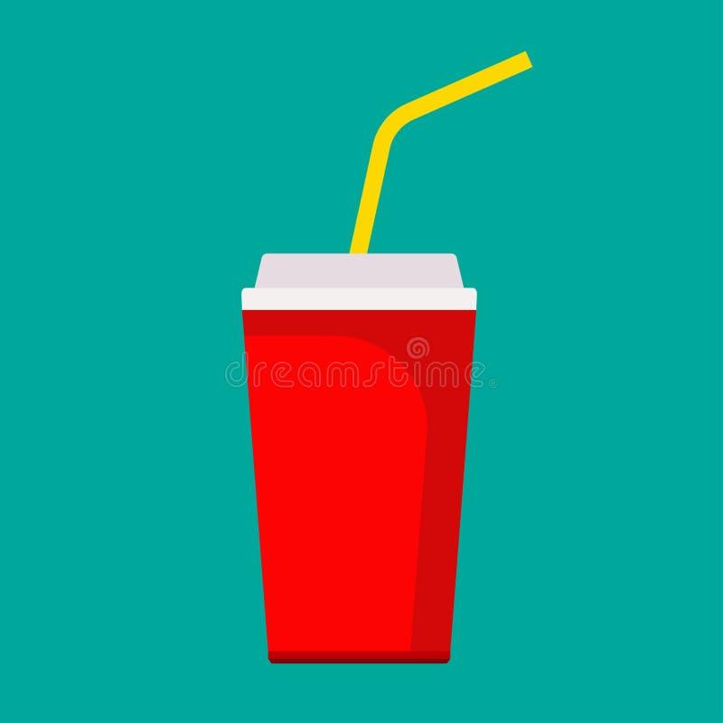 Напиток мультфильма контейнера чашки соды свежий сладкий красный плоский Нездоровый напиток значка вектора фаст-фуда Бумажный газ иллюстрация штока