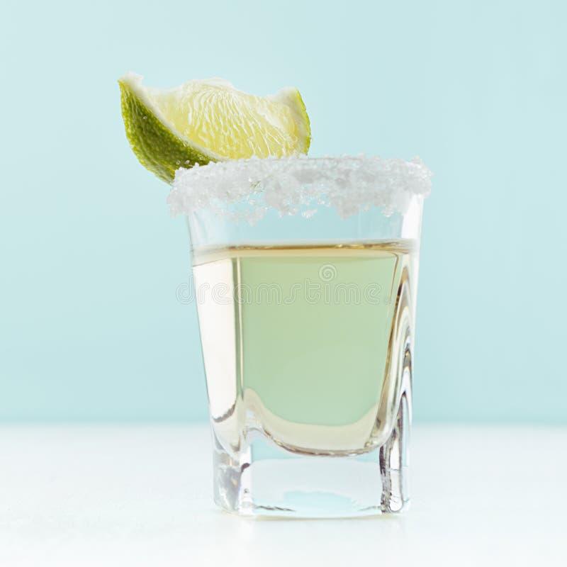 Напиток роскошного лета свежий - текила золота с оправой соли и зелена стоковое фото