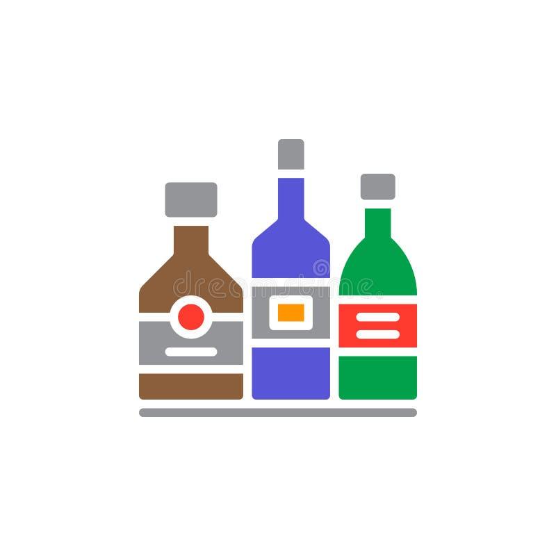Напиток спирта разливает вектор по бутылкам значка, заполненный плоский знак, твердую красочную пиктограмму изолированную на бели иллюстрация вектора