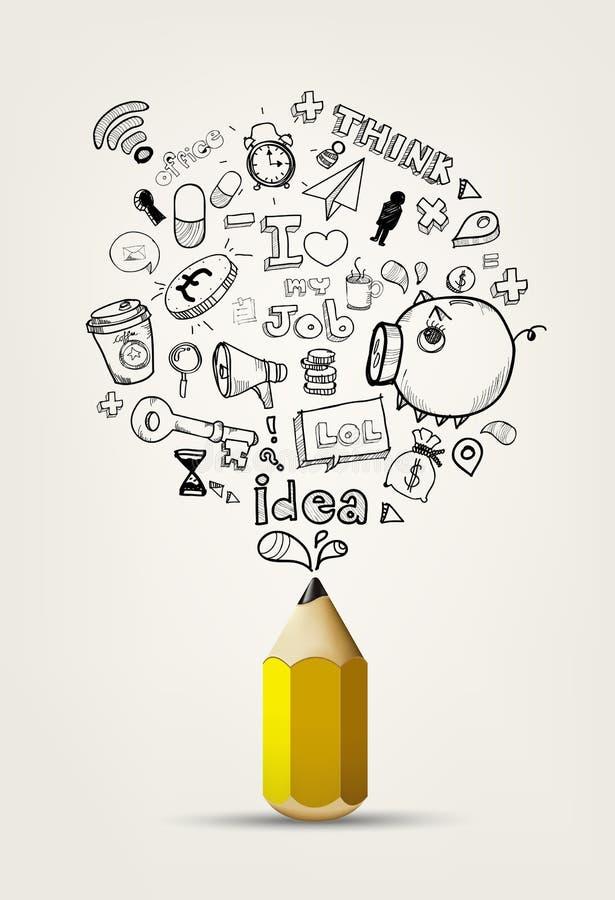 Напишите идею doodle на белой бумаге бесплатная иллюстрация