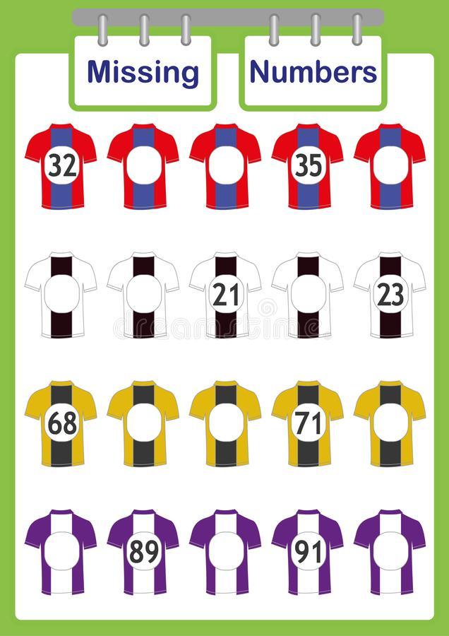 напишите отсутствующие номера, математику для детей, считая воспитательную игру для детей иллюстрация штока