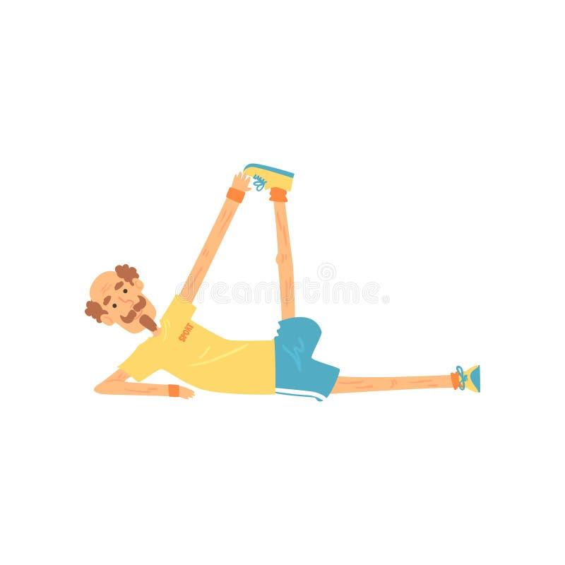 Напористый старик лежа на стороне и делая протягивать Пожилая тренировка гимнастики персоны перед тренировкой Активный мужчина