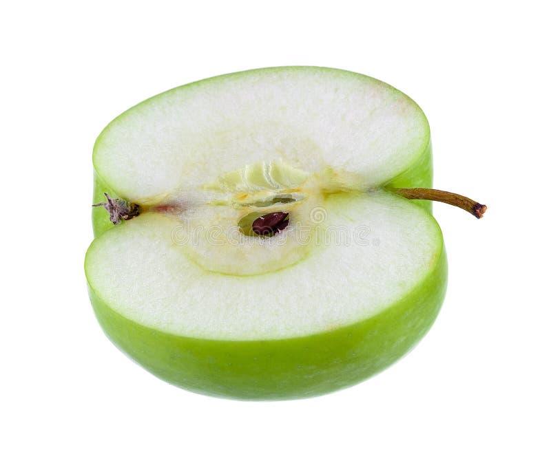 Наполовину зеленое изолированное яблоко стоковое фото