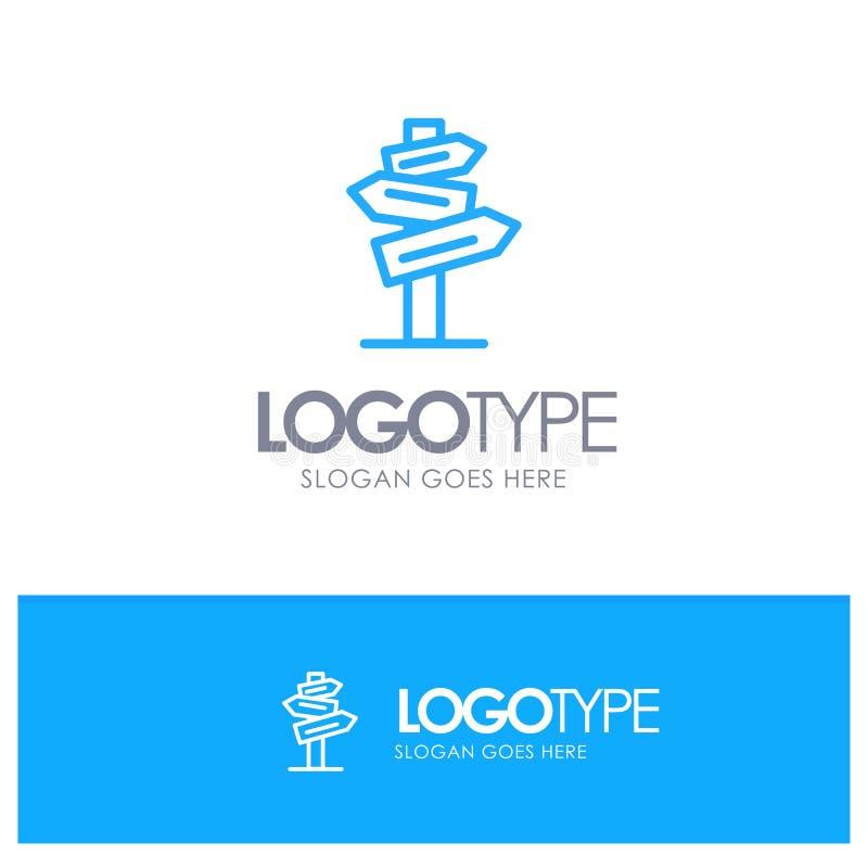 Направление, гостиница, мотель, линия стиль логотипа комнаты голубая бесплатная иллюстрация