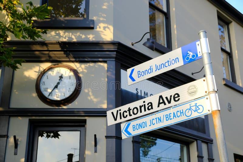 Направление знака улицы Сиднея к пляжу Bondi стоковые изображения