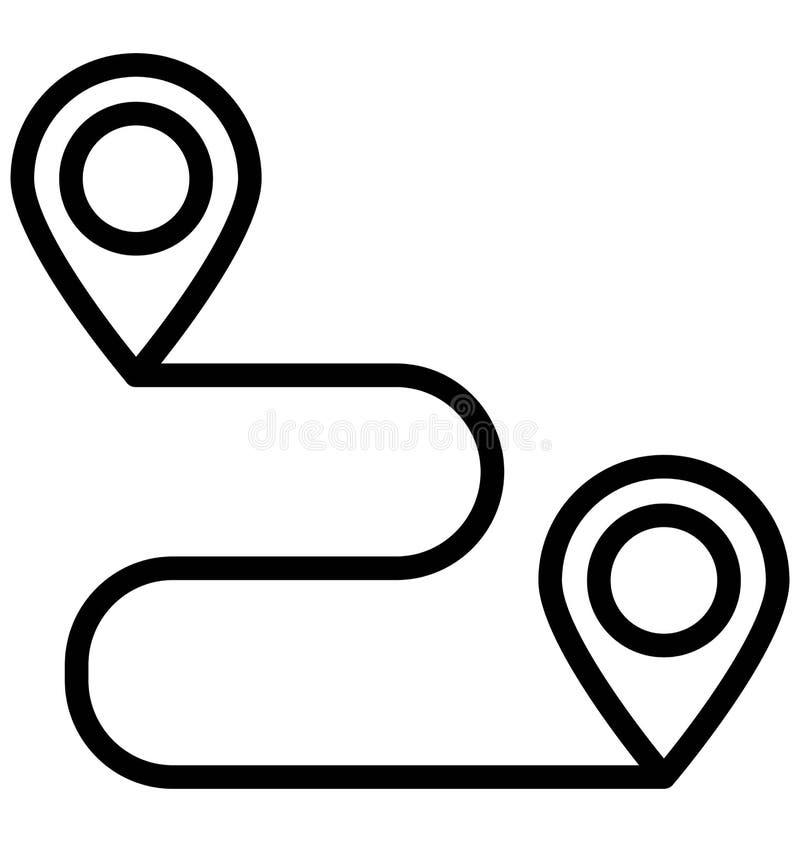 Направление, расстояние изолировало значок вектора который может легко доработать или отредактировать иллюстрация вектора