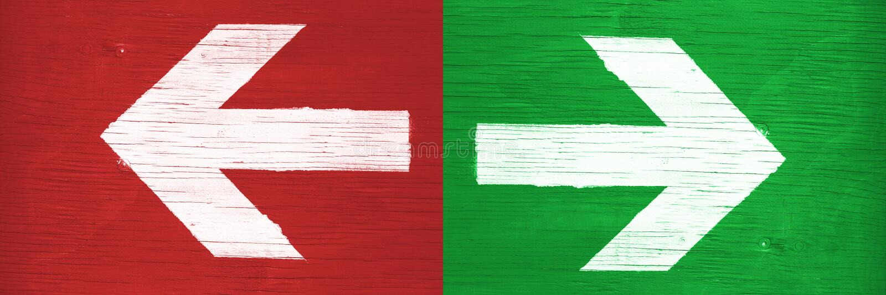 Направления белых стрелок указывая справедливо и налево вручную покрашенный на зеленой и красной деревянной предпосылке шильдика стоковое фото rf