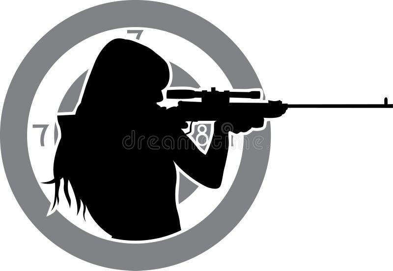 направляет винтовку девушки иллюстрация штока