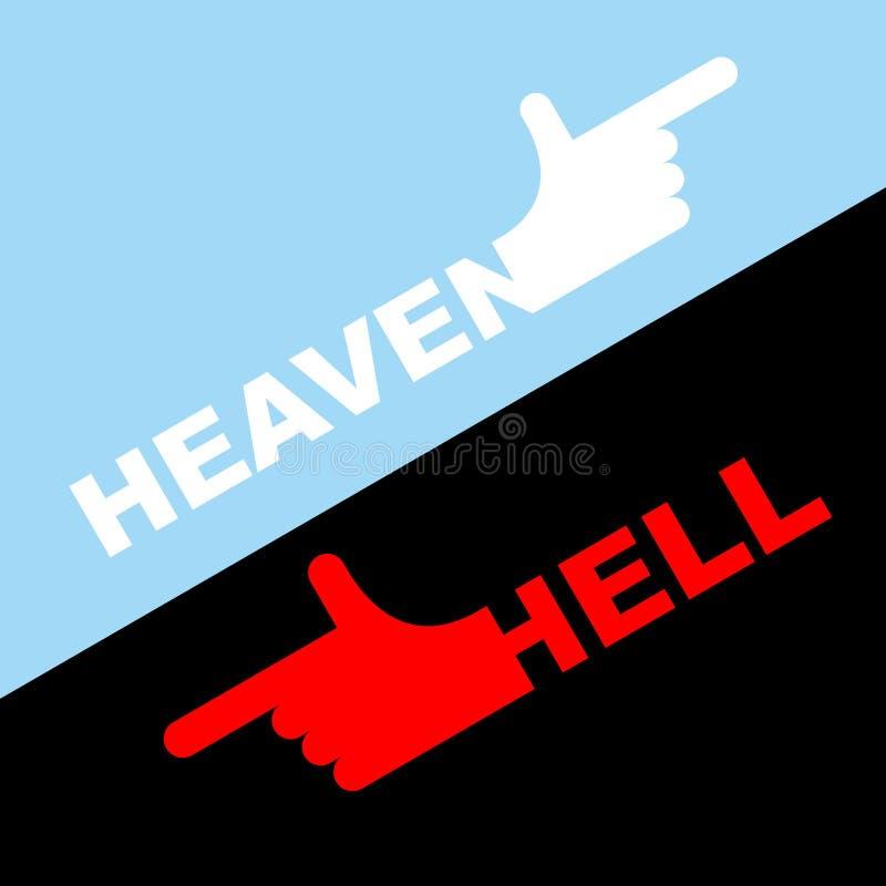 Направление ада и рая также вектор иллюстрации притяжки corel Белая рука внутри иллюстрация штока
