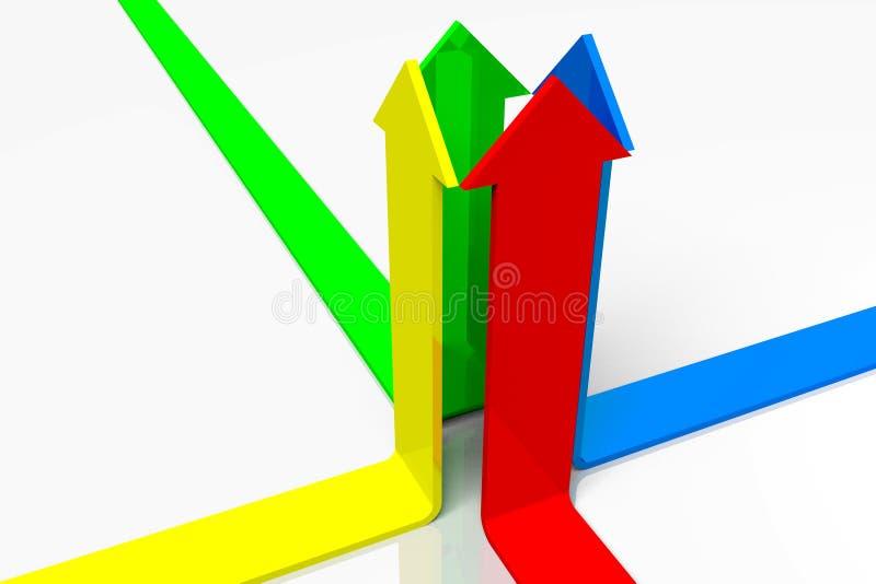 Направление, рост, знак стрелки, дизайн, развлечения, цвета, быстрые, движение, цель иллюстрация штока