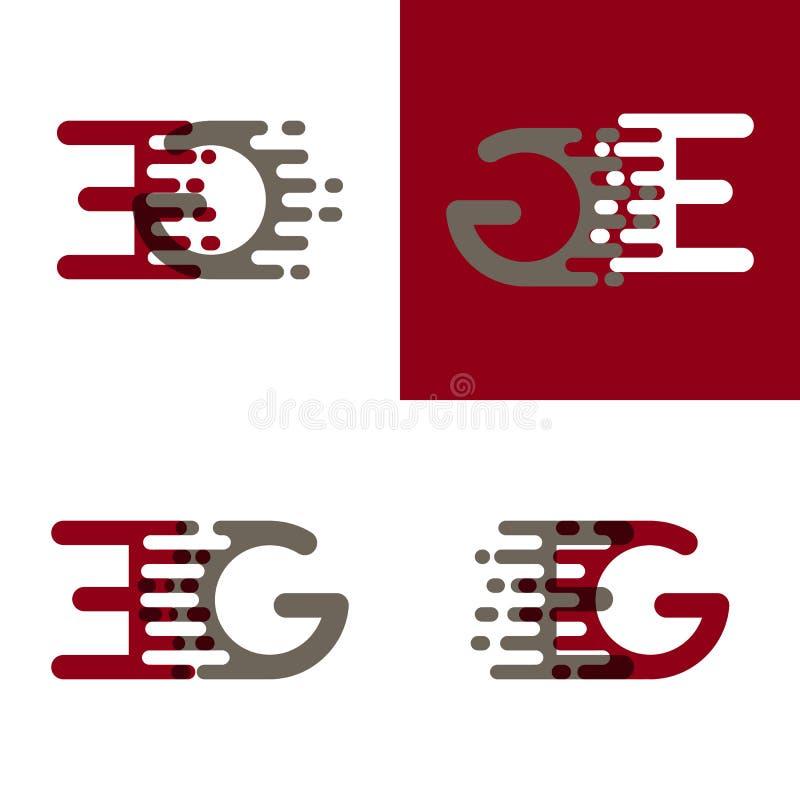 НАПРИМЕР помечает буквами логотип с акцентом для того чтобы быстро пройти в красном цвете и сером цвете drak иллюстрация штока