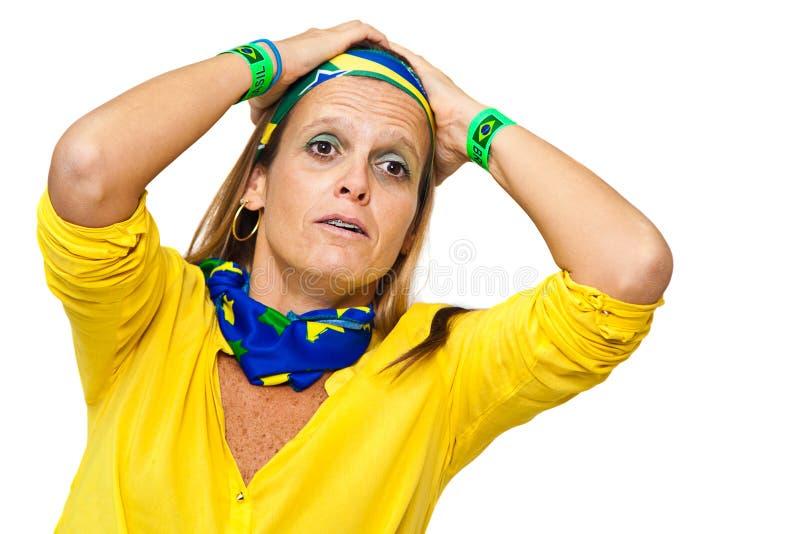 Напряженный бразильский сторонник стоковые фото