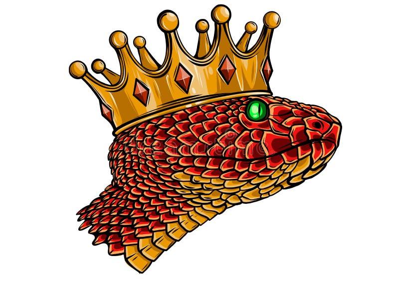 Нарисованная вручную винтажная змейка с искусством татуировки кроны r Достигший возраста стиль дизайна линейный иллюстрация вектора