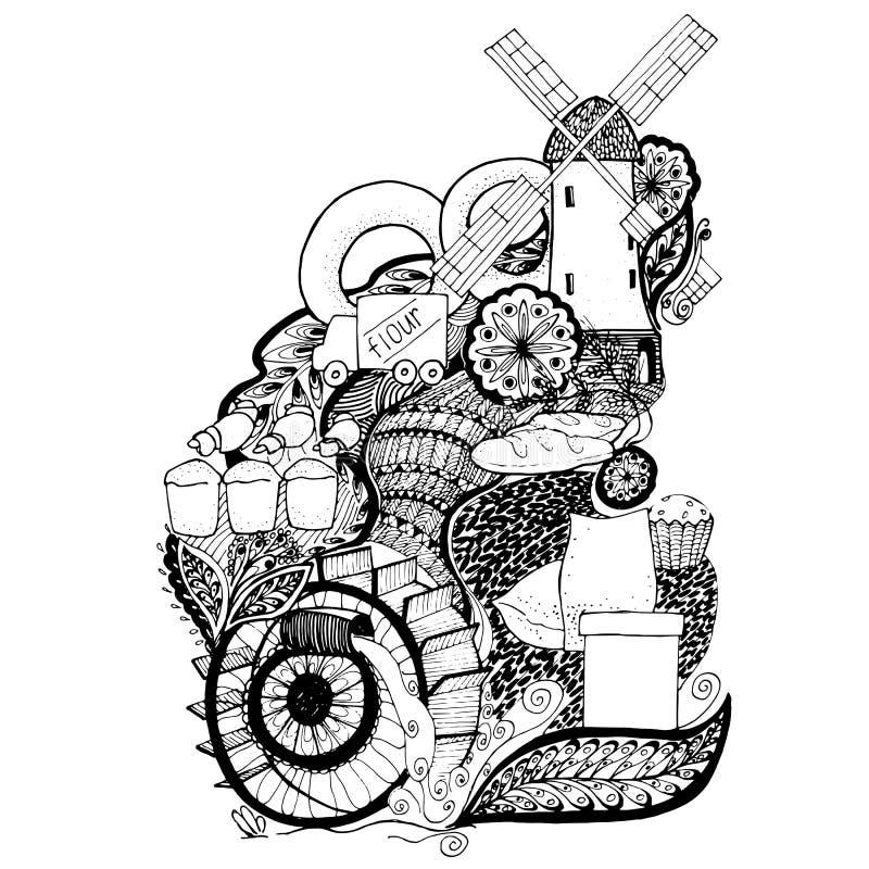 Нарисованная вручную водяная мельница в черно-белом иллюстрация вектора