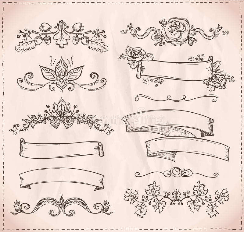 Нарисованная вручную графическая линия элементы для scrabooking, влюбленности и wedding темы иллюстрация штока