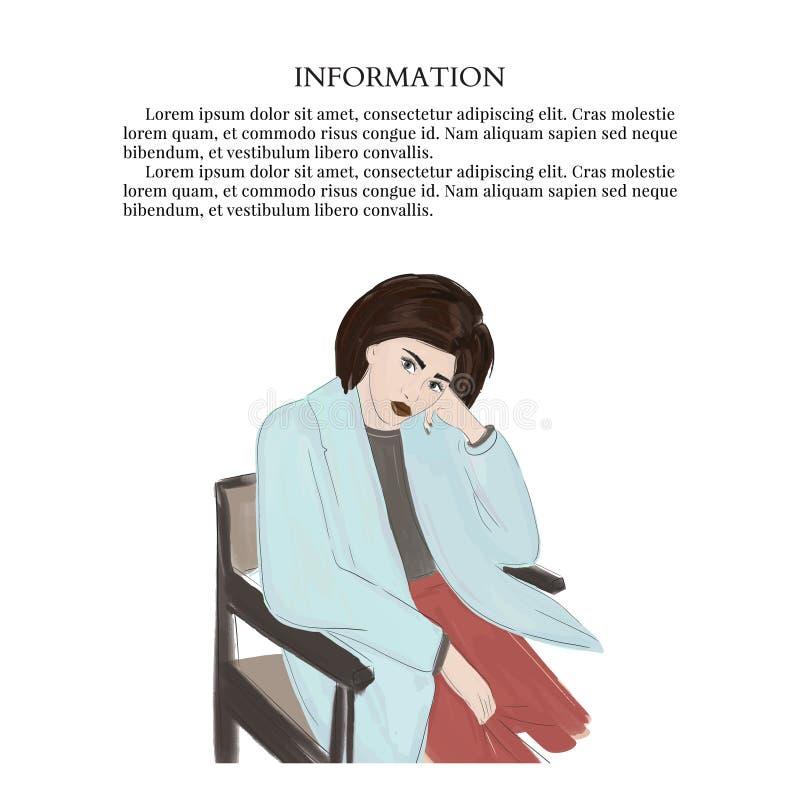 Нарисованная вручную женщина сидя на стуле Современный эскиз вектора взгляда Красивые графики моды иллюстрация штока