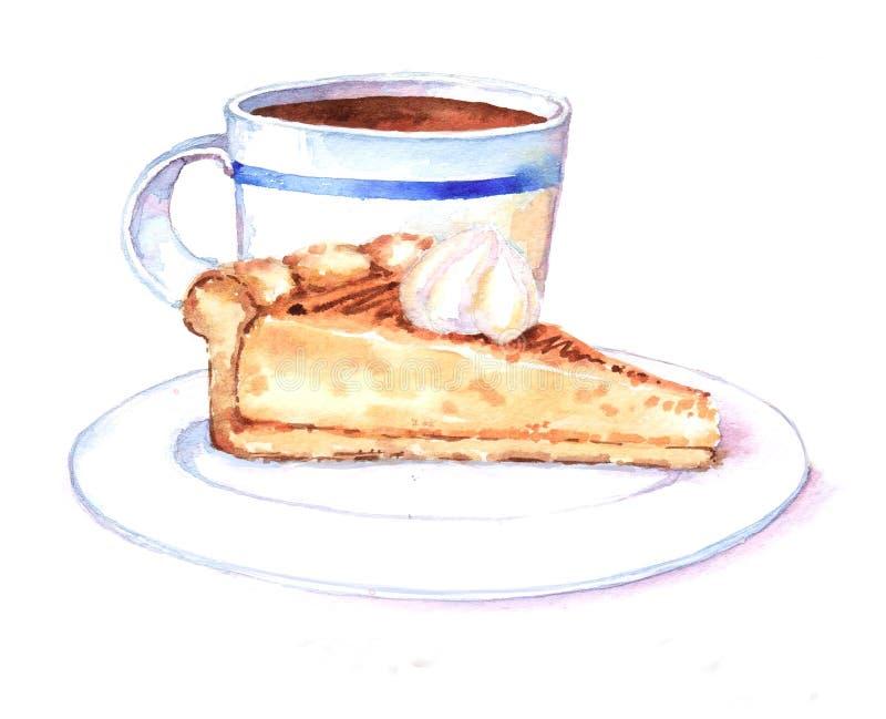 Нарисованная вручную иллюстрация акварели вкусных торта и чашки чаю стоковое фото