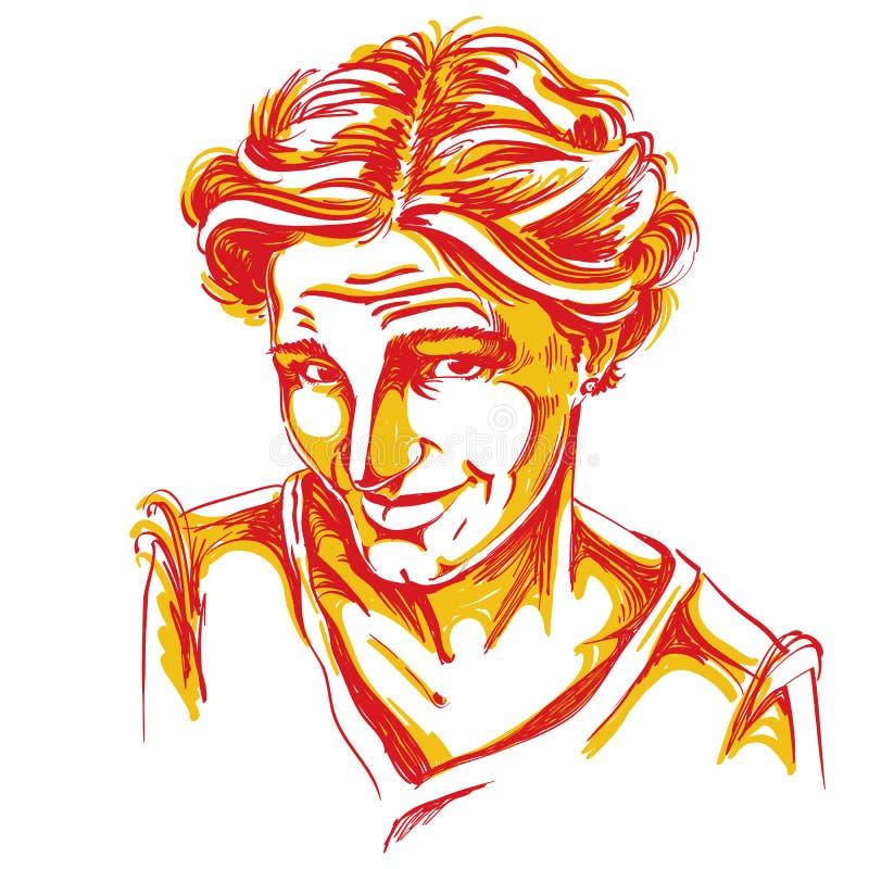 Нарисованная вручную иллюстрация вектора наивной blameworthy женщины цвет бесплатная иллюстрация