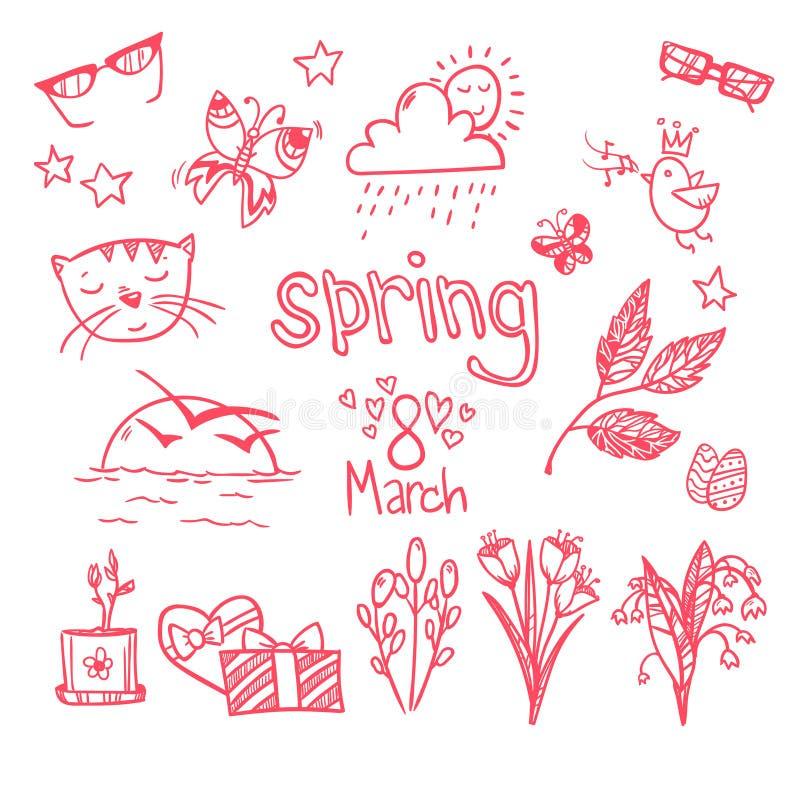 Нарисованная вручную иллюстрация вектора - значки весны абстрактным нарисованные doodle флористические установленные иллюстрации  бесплатная иллюстрация