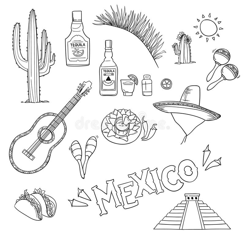 Нарисованная вручную иллюстрация вектора - Мексика Мексиканськие значки бесплатная иллюстрация