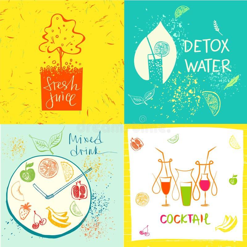 Нарисованная вручную иллюстрация для свежих сока и еды здоровья в меню иллюстрация вектора