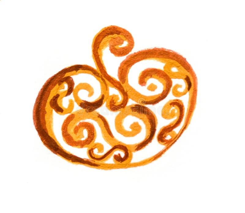 нарисованная вручную оранжевая и коричневая волнообразная и вихревая  иллюстрация штока