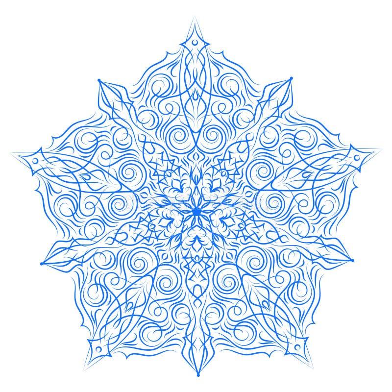 Нарисованная вручную рамка шнурка рождества, мандала иллюстрация вектора