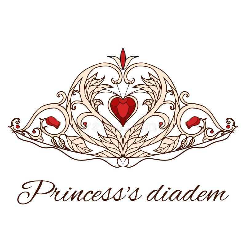 Нарисованная вручную тиара принцессы белизна ферзя изолята кроны предпосылки бесплатная иллюстрация