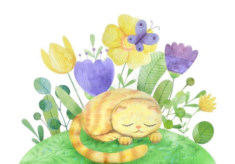 нарисованная вручную цветочная композиция акварели с котом иллюстрация вектора