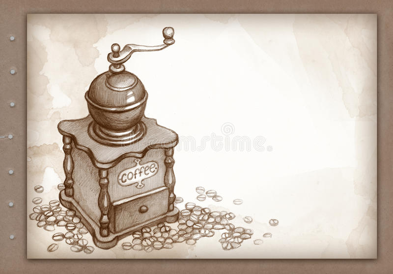 нарисованная кофе рука точильщика бесплатная иллюстрация