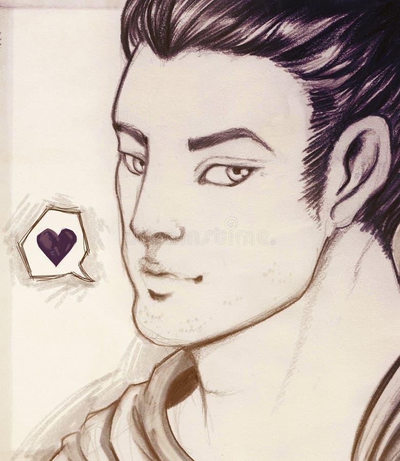 нарисованная мальчиком влюбленность руки стоковые изображения