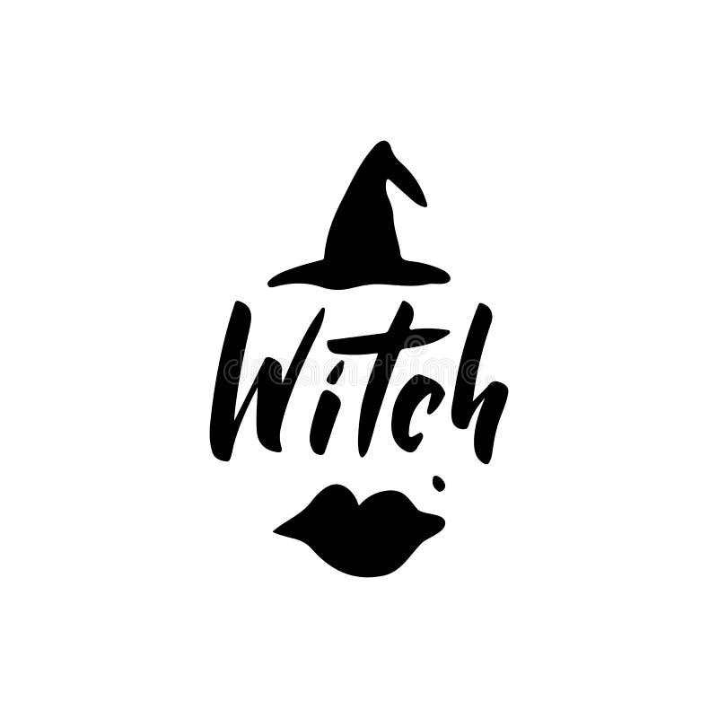 Нарисованная рука ведьмы помечающ буквами оформление иллюстрация вектора