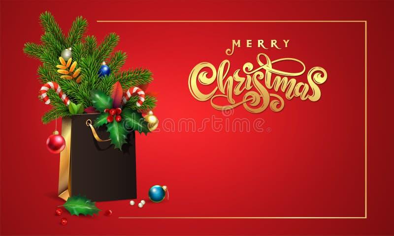 Нарисованная рука вектора золота помечающ буквами рождество текста веселое 3d хозяйственная сумка, спрус букета, ветви ели, игруш стоковая фотография