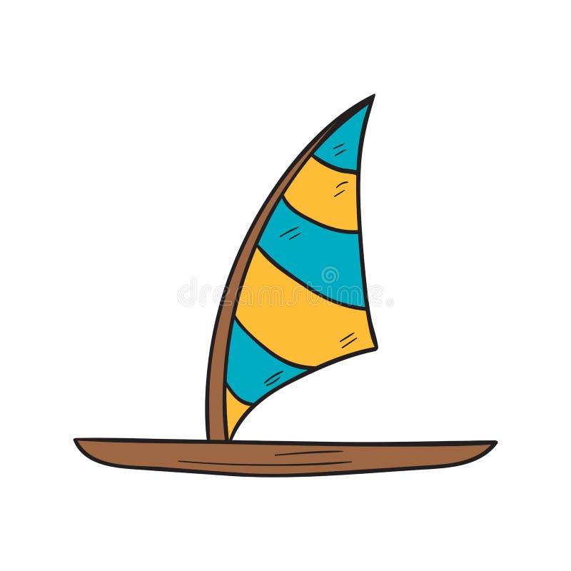 Нарисованная рука вектора изолированная шаржем windsurf доска бесплатная иллюстрация