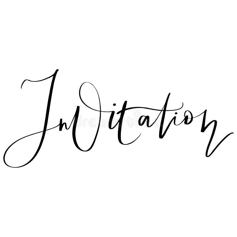 Нарисованная рука вектора помечающ буквами приглашение Для wedding дизайна иллюстрация вектора