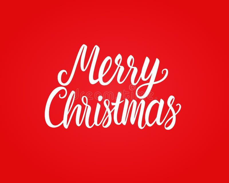 Нарисованная рука веселого рождества белая помечающ буквами надпись текста Иллюстрация вектора изолированная на красной предпосыл иллюстрация вектора