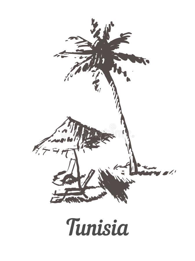 Нарисованная рука горизонта Туниса Иллюстрация вектора стиля эскиза Туниса Palm Beach иллюстрация вектора