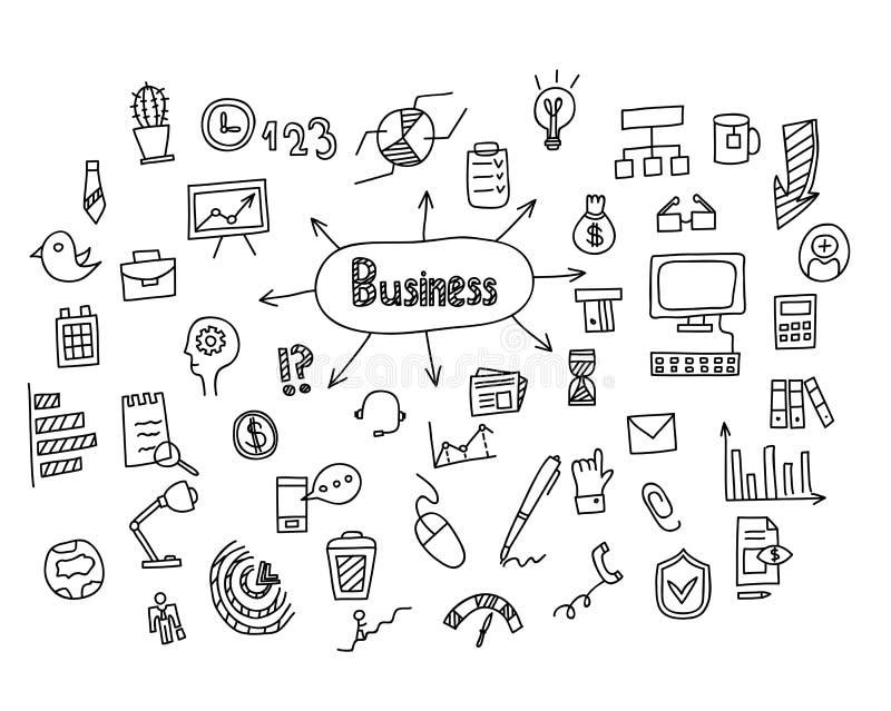 Нарисованная рука идеи дела doodles установленные значки также вектор иллюстрации притяжки corel иллюстрация штока