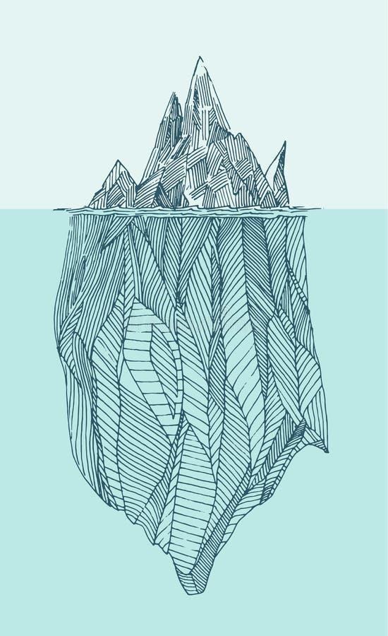 Нарисованная рука иллюстрации айсберга выгравированная годом сбора винограда бесплатная иллюстрация