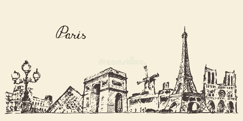 Нарисованная рука иллюстрации Франции горизонта Парижа иллюстрация штока