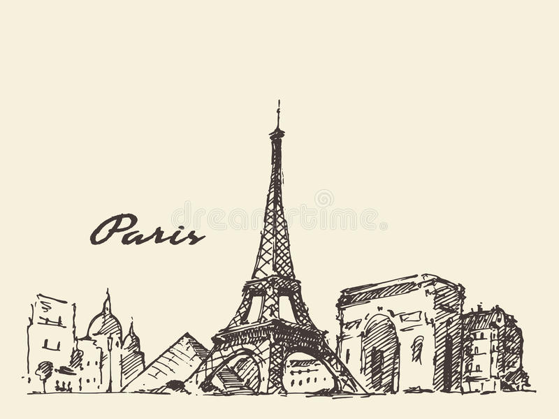 Нарисованная рука иллюстрации Франции горизонта Парижа бесплатная иллюстрация