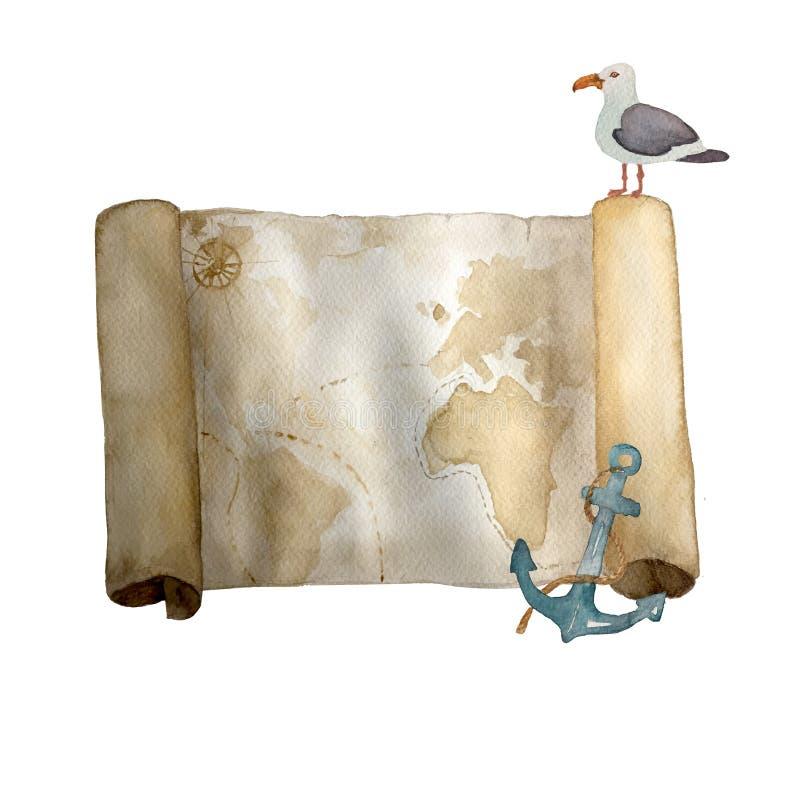 Нарисованная рука карты акварели винтажная морская старая изолированной на белизне Для карт, приглашений и afishas иллюстрация вектора