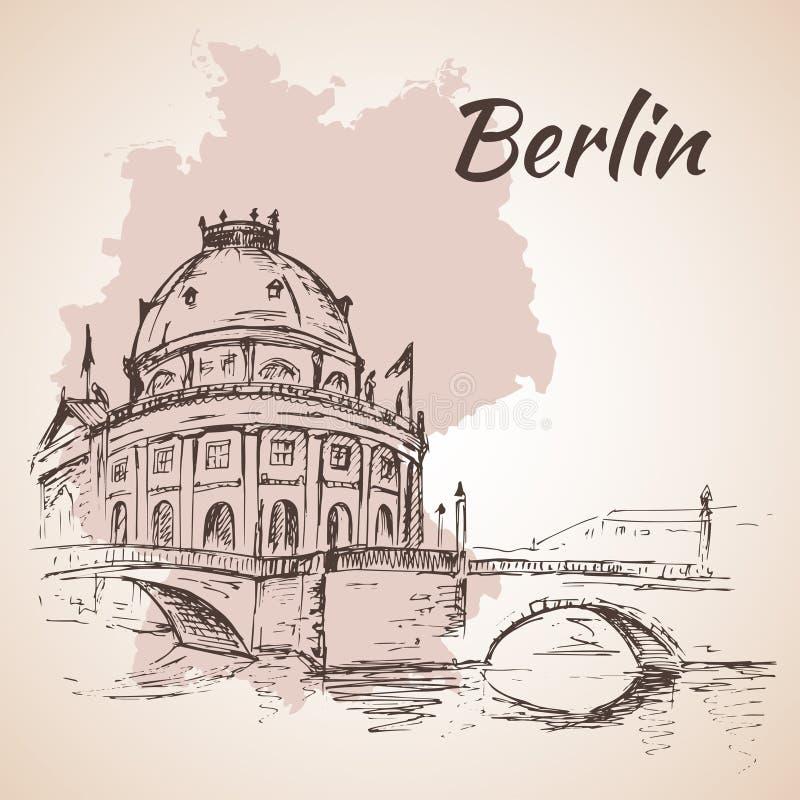 Нарисованная рука обещает музей - Берлин, Германия бесплатная иллюстрация