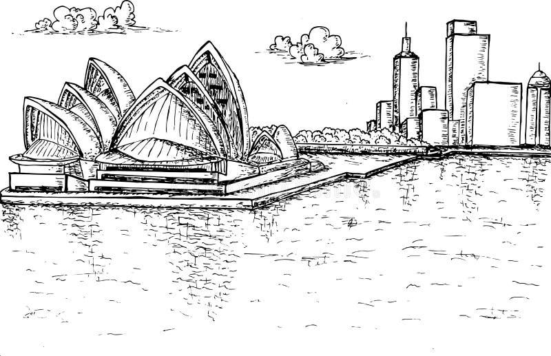 Нарисованная рука оперного театра Сиднея иллюстрация штока