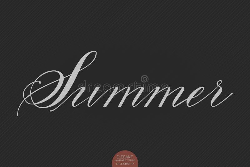 Нарисованная рука помечающ буквами лето Элегантная современная рукописная каллиграфия Иллюстрация чернил вектора иллюстрация штока
