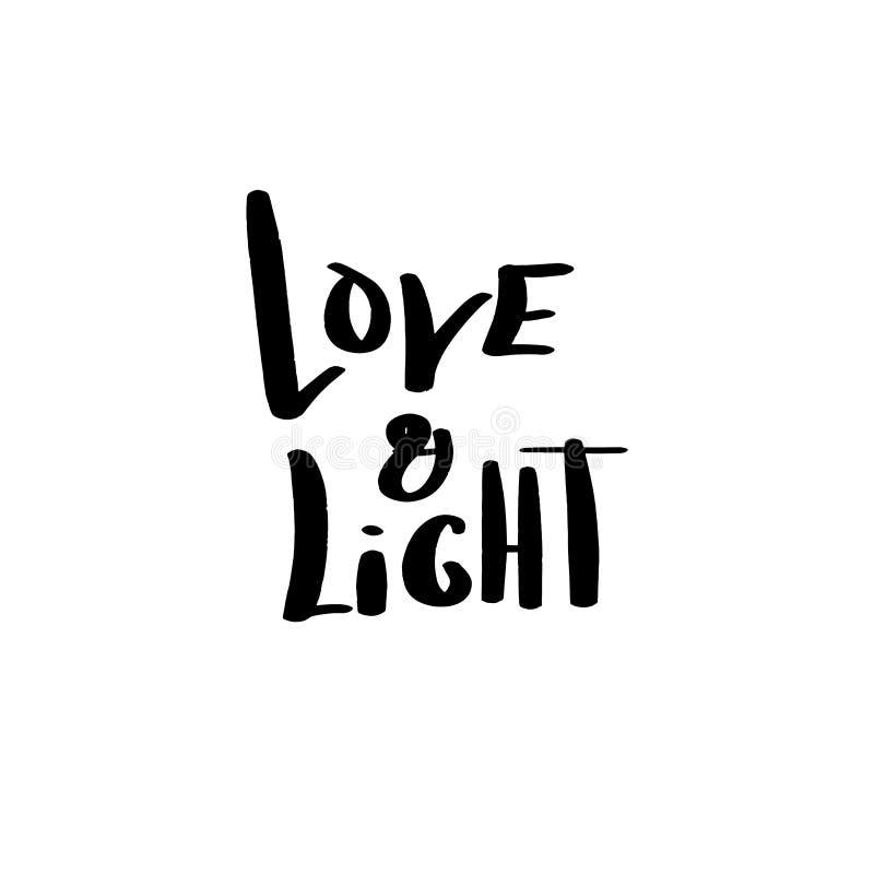 Нарисованная рука помечающ буквами любовь и свет, фразу для конструировать вопросы Хануки - приглашение, поздравительную открытку иллюстрация штока