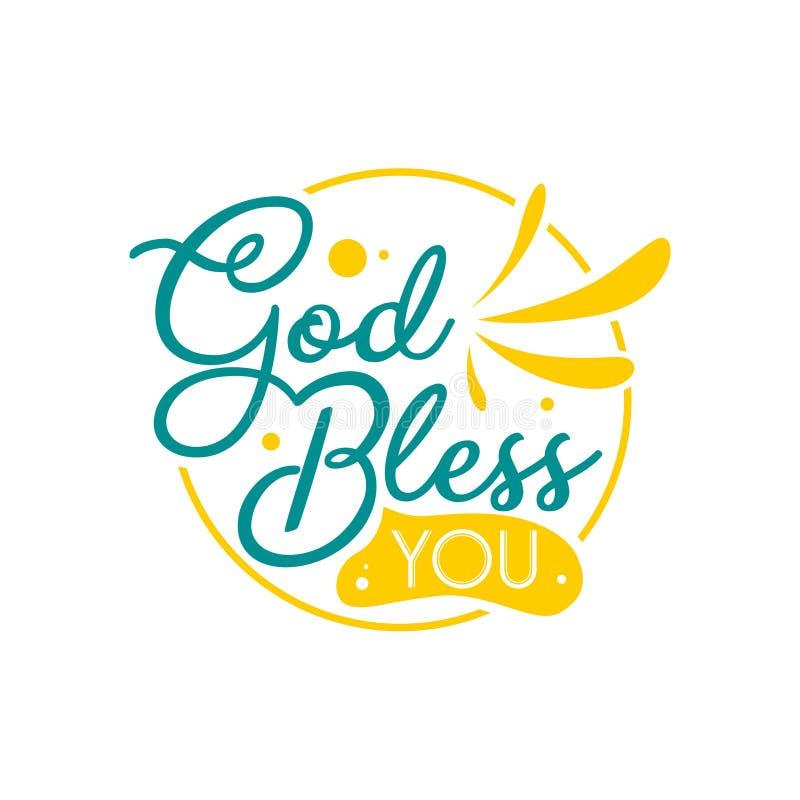 Нарисованная рука помечающ буквами цитаты оформления Бог благословляет вас Вдохновляющий и мотивационный дизайн вектора Смогите и иллюстрация вектора